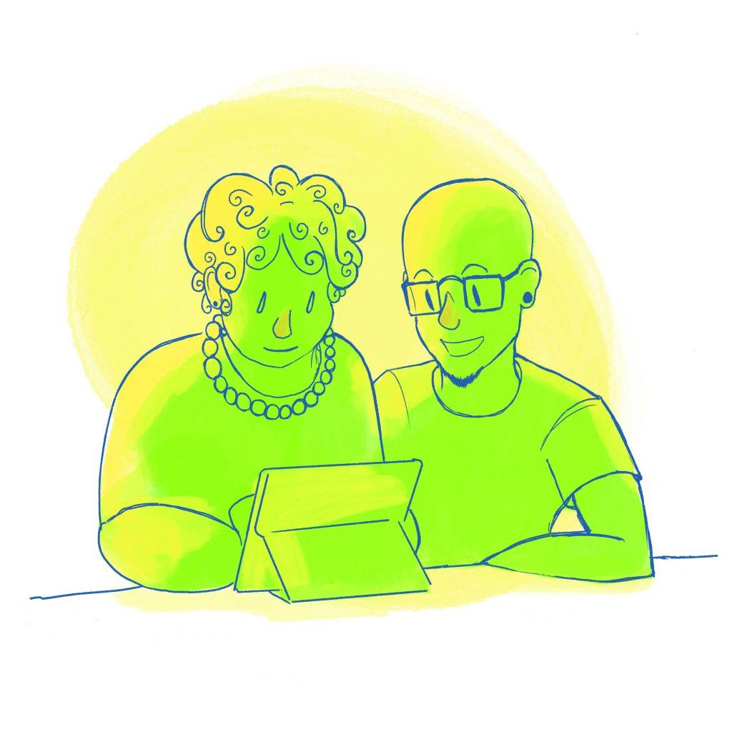 Nuori ja ikäihminen istuvat pöydän ääressä ja katsovat tablettia.