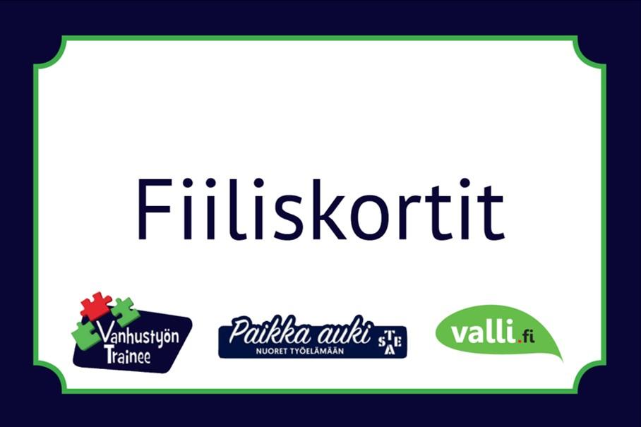 Korttipakan kansi, jossa lukee Fiiliskortit. Vanhustyön Trainee. Paikka Auki, nuoret työelämään, STEA, valli.fi.