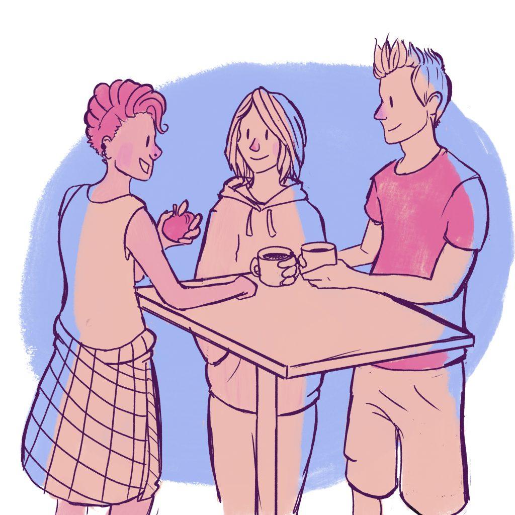 Kolme nuorta seisoo pöydän äärellä ja keskustelee, piirroskuva.