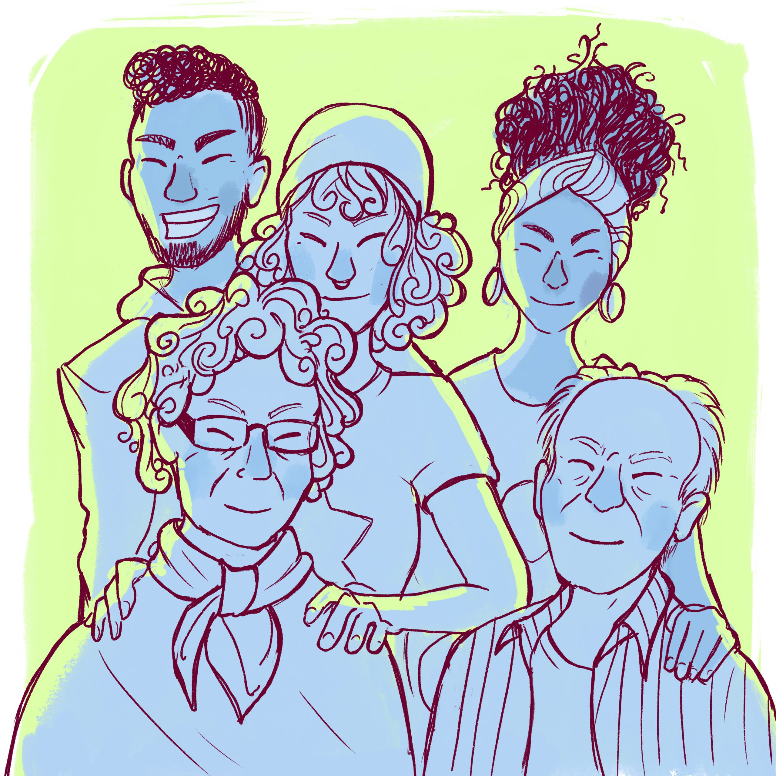Ryhmä hymyileviä nuoria ja vanhuksia, piirroskuva.