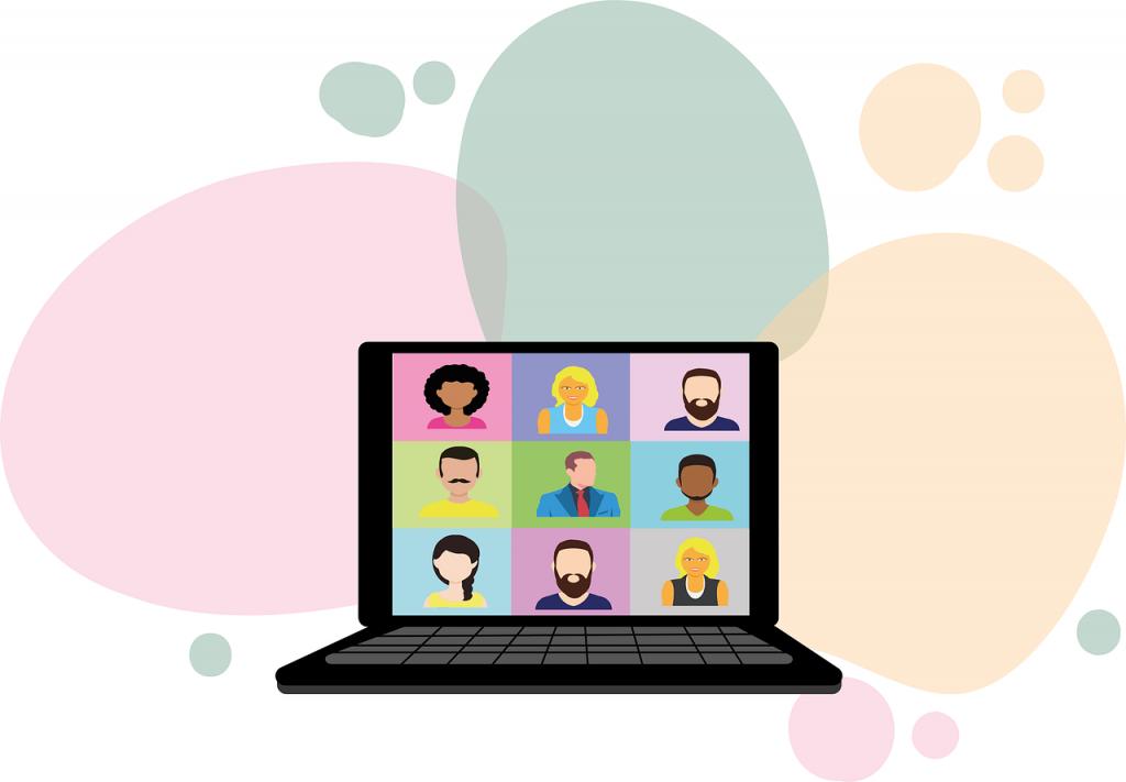 Tietokone, jonka ruudulla eri näköisiä henkilöitä, piirroskuva.