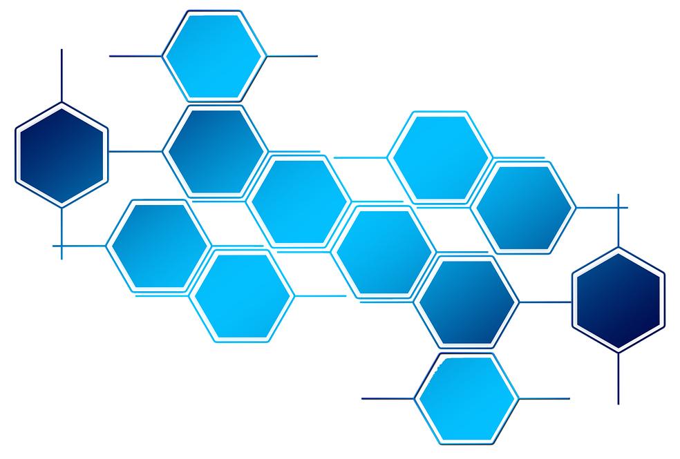 """""""sinisiä kuusikulmioita, jotka yhdessä muodostavat verkoston."""""""